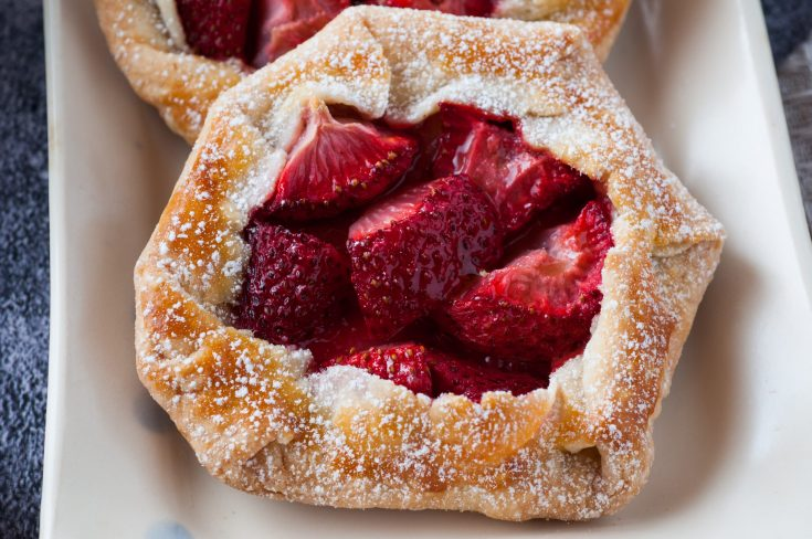 strawberry galettes with flaky butter pastry on salvagesisterandmister.com