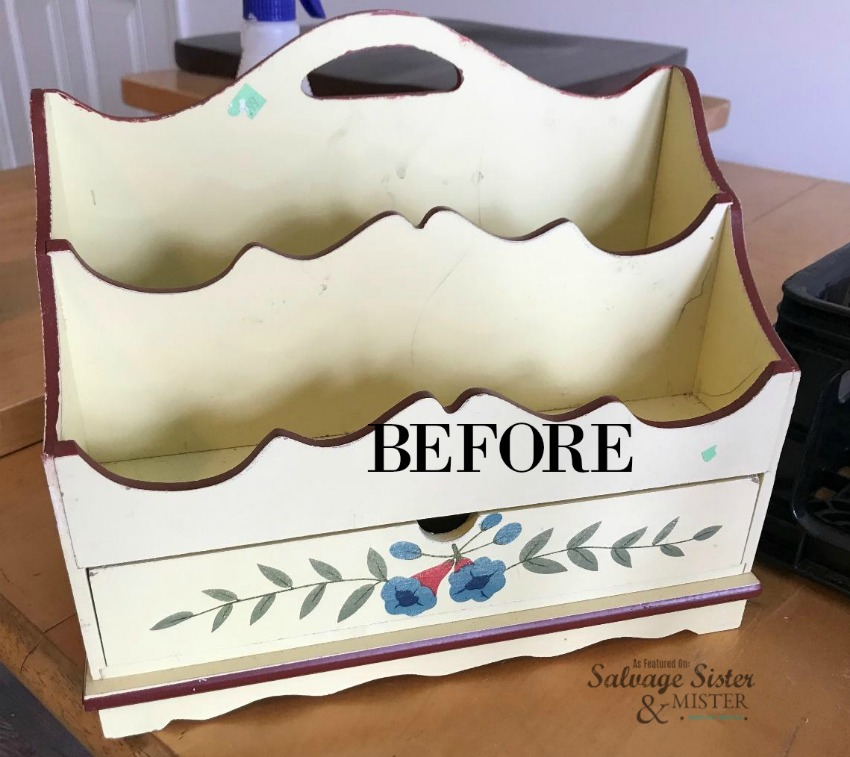 Thrift Store Farmhouse Desk Organizer Makeover before - feature on salvagesisterandmister.com