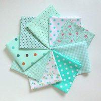 KINGSO 7PCS Cotton Fabric Bundles Quilting Sewing DIY Craft 19.7x19.7inch Dark Blue (9PCS, Blue)