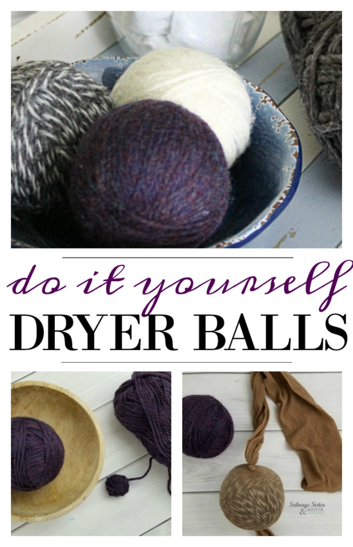How to tutorial on making your own dryer balls. Traditional dryer sheets are not only bad for your machine but also are full of chemicals. Dryer balls reduce dry time and are less toxic. Plus, you save money as you can reuse them over and over. The full tutorial is on salvagesisterandmister.com (waste not, want not) blog