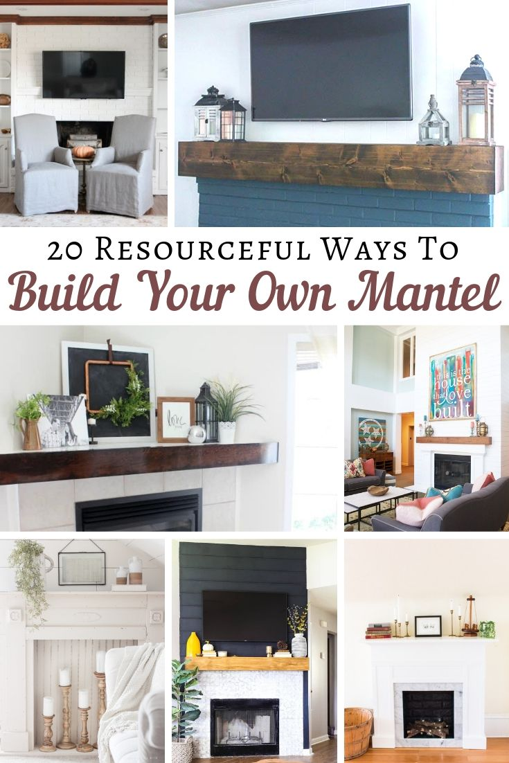 20 ways to build your own mantel. Find the one you like and get the building plans to create your own. You don't even have to have a fireplace. You can create a faux fireplace - hearth if you like. One idea is even an old headboard that was set for the scrap pile. No matter your style from rustic, farmhouse, modern, simple, vintage, and everything in between you will find the mantel of your dreams here. Get all 20 ideas on salvagesisterandmister.com (diy wood projects)