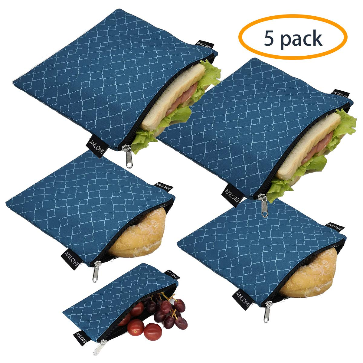 Reusable Sandwich Bags Snack Bags - Set of 5 Pack, Dishwasher Safe Lunch Bags with Zipper, Eco Friendly Food Wraps, BPA-Free. (PeacockBlue) (affiliate link)