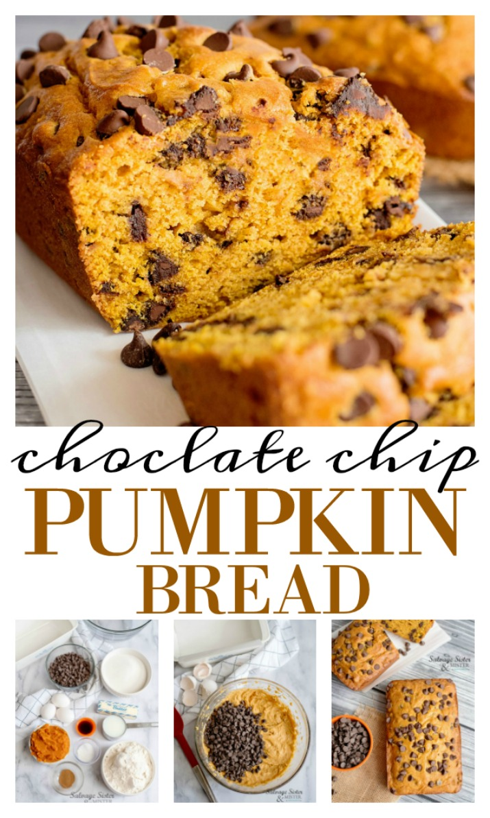 fall quick bread recipe - chocolate chip pumpkin bread.  Perfect hostess gift for Thanksgiving, for a fall snack or a yummy breakfast.  Chocolate chips add a extra special treat to this pumpkin bread.  Easy to make. Get full recipe on salvagesisterandmister.com
