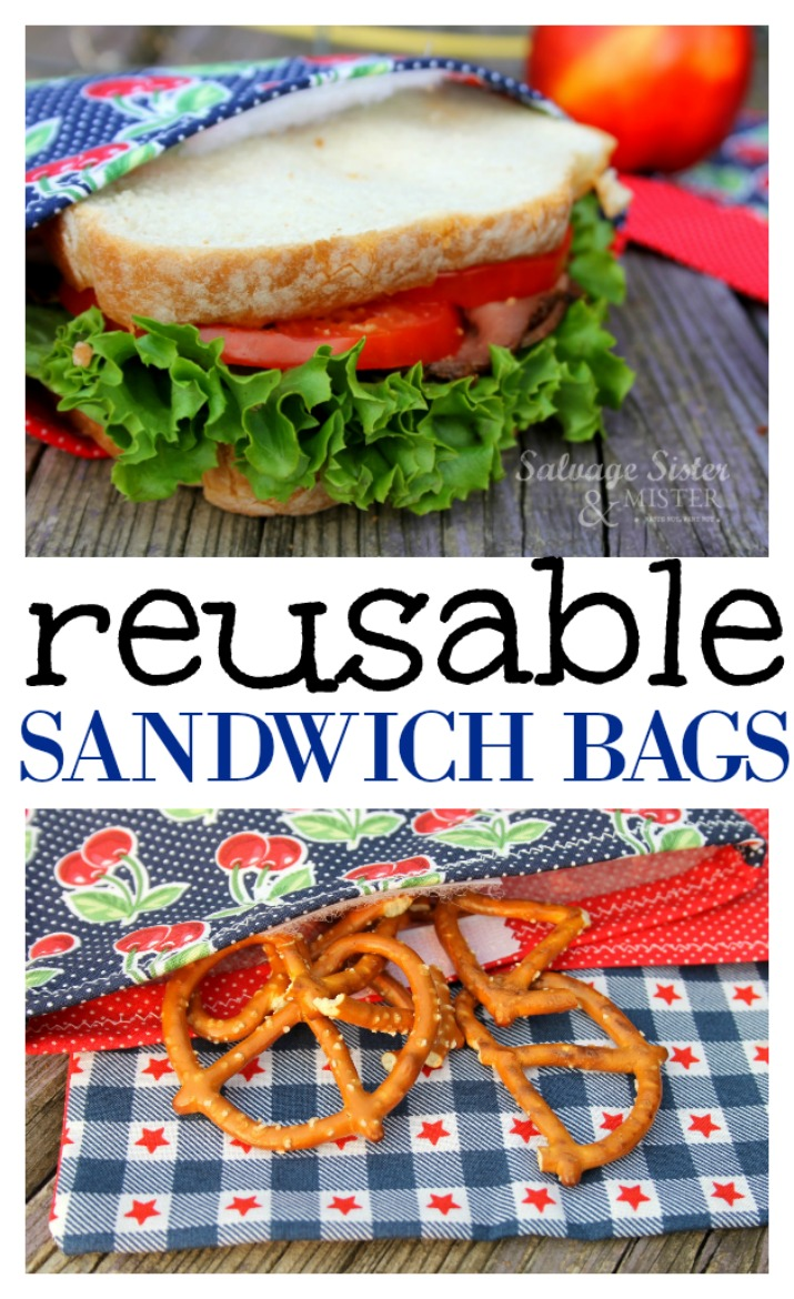 DIY TUTORIAL - Reusable sandwich bags. Great for back to school or work lunches. Save money and waste less by using reusable bags for your snacks or sandwiches. This easy craft sewing tutorial is step by step and can be made to give away as well. Go to salvagesisterandmister.com for this full reuse (waste not - want not) project