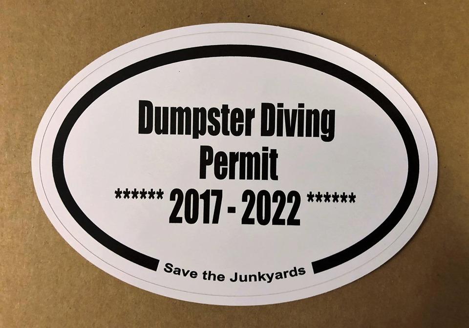 dumpster diver permit affiliate link sticker