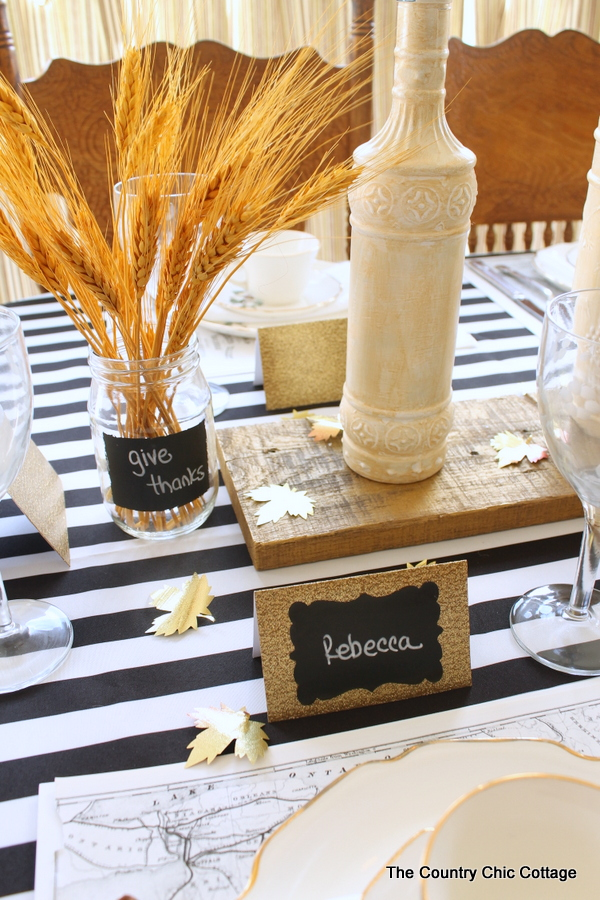 fall tablescape using wheat