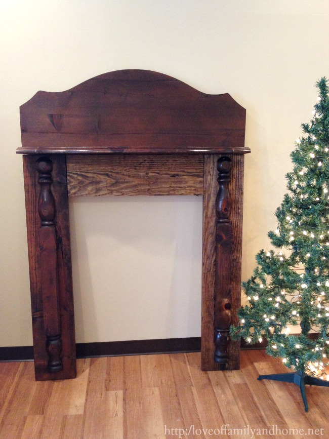 faux mantel from headboard pieces