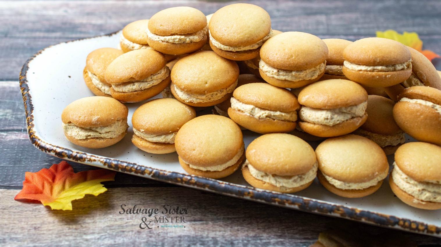 fall recipe - mini pumpkin cheesecake sandwich cookies on salvagesisterandmister.com