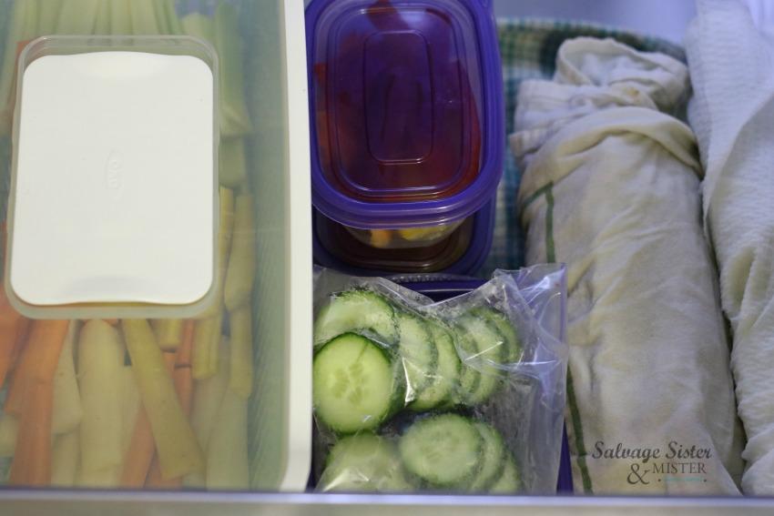 veggies ready for the week in the fridge