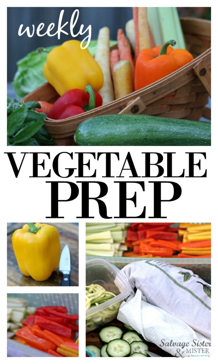Waste less vegetables! Is your refrigerator full of vegetables that have gone bad? Here is one way to reduce your waste - weekly vegetable prep. Whether you meal plan or not, this is a great way to make sure those vegetables that you bought get eaten. Meal prepping for the week is a great way to save money, waste less, and eat healthier food when it is ready to take on the go. Get more info on salvagesisterandmister.com #sponsored