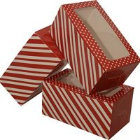 Mini Treat cookie Boxes; rectangular with clear window; 8 - 3 packs; 24 foldable boxes (Red & White Stripe)