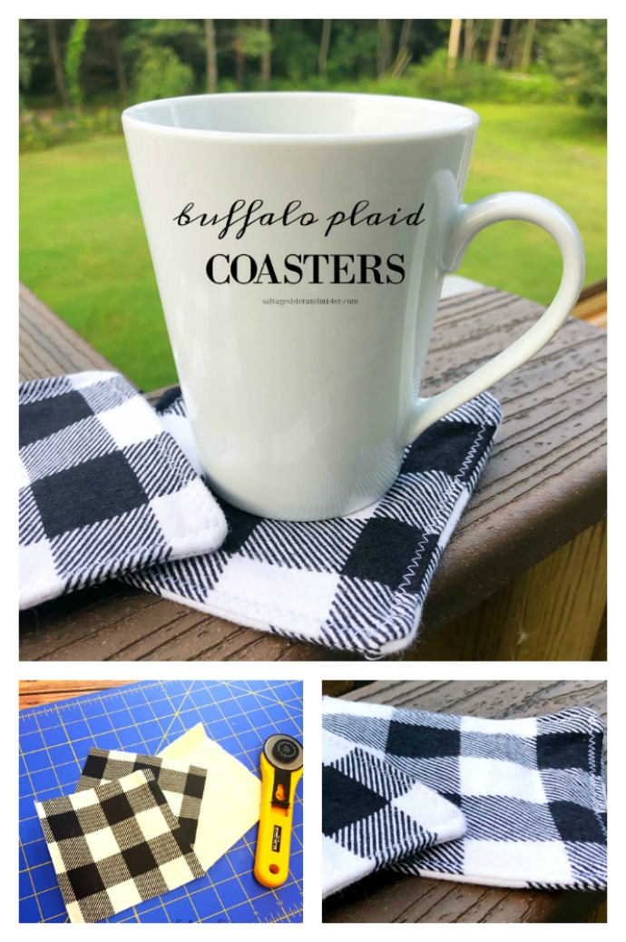 How to make farmhouse buffalo plaid coasters )DIY craft project). This is a great way to use up leftover scraps of fabric. Great for your own home decor or to give as a gift (gift idea). Use buffalo check or any desired fabric. Perfect for the fall, winter, holiday decor, or any time of the year. This full tutorial can be found on salvagesisterandmister.com
