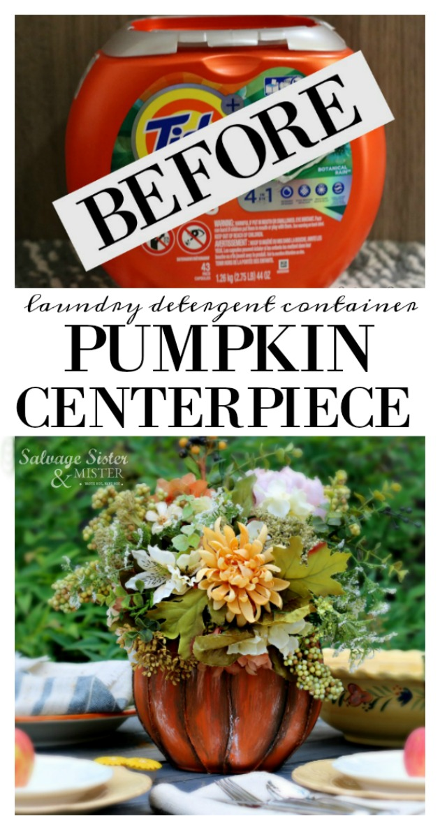 turning a laundry detergent pod container into something new. This craft is perfect for a fall table or home decor item. Don;'t toss it, use that item in this pod container pumpkin centerpiece. The full DIY tutorial is on salvagesisterandmister.com. Waste not, want not. Great tablescape. reuse, repurpose, upcycle