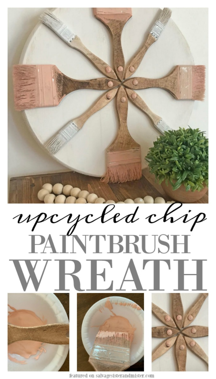 Turn old paintbrushes into a cute upcycled chip paintbrush wreath. Fun craft project that could be great for a studio, kids room, artisit space, craft room, or even to make for a crafters market. Get this full diy tiutorial on salvagesisterandmister.com and reuse those brushes today. (don't toss it away - repurpose it aka waste not, want not)