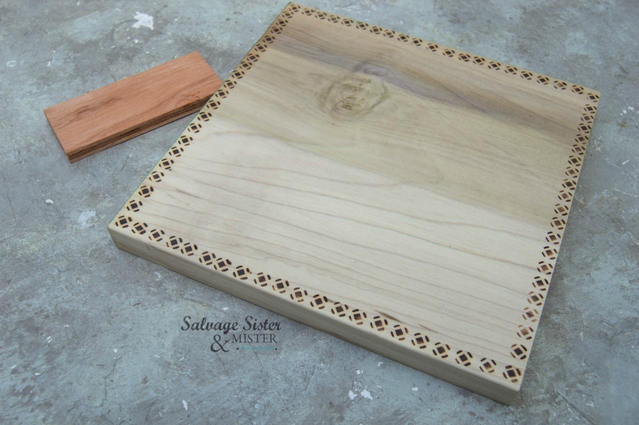 Creating a pattern on a scrap wood pumpkin on salvagesisterandmister.com