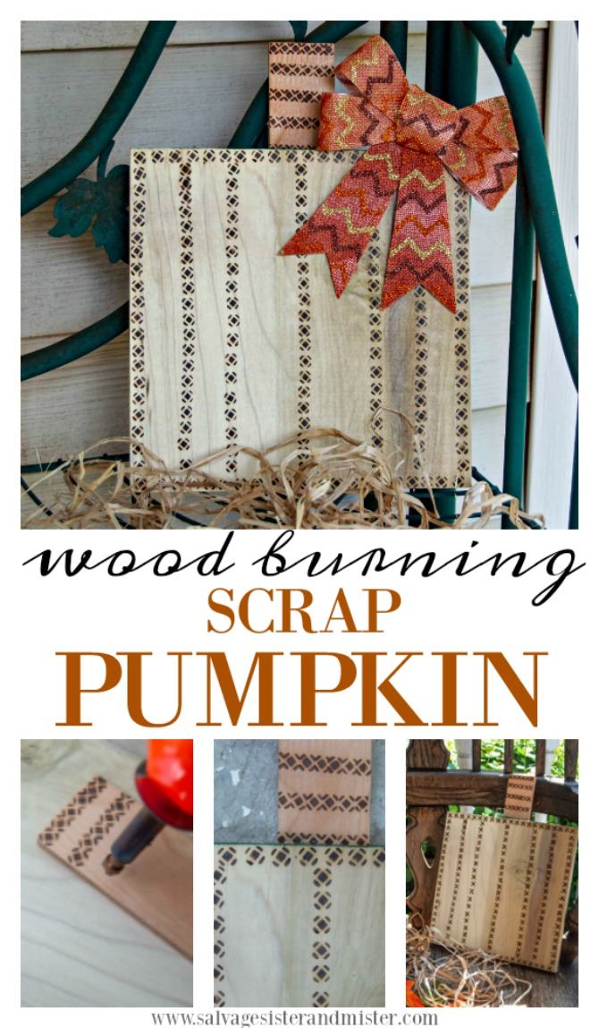 What to do with leftover pieces of wood? Turn them into a fun fall porch decor. Actually this wood burned scrap pumpkin could be used indoor or outdooe. An easy craft with little tools required. Get the full DIY tutorial for this repurposed (reuse) project over at salvagesisterandmister.com
