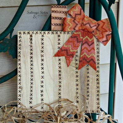 fall porch decor - wood burned scrap pumpkin on salvagesisterandmister