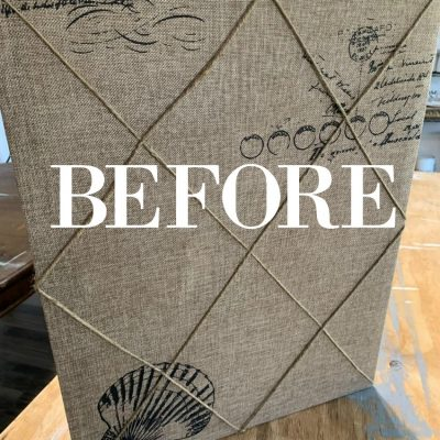 Turn that old photo -memory board into a farmhouse wall decor piece how to on salvagesisterandmister.com