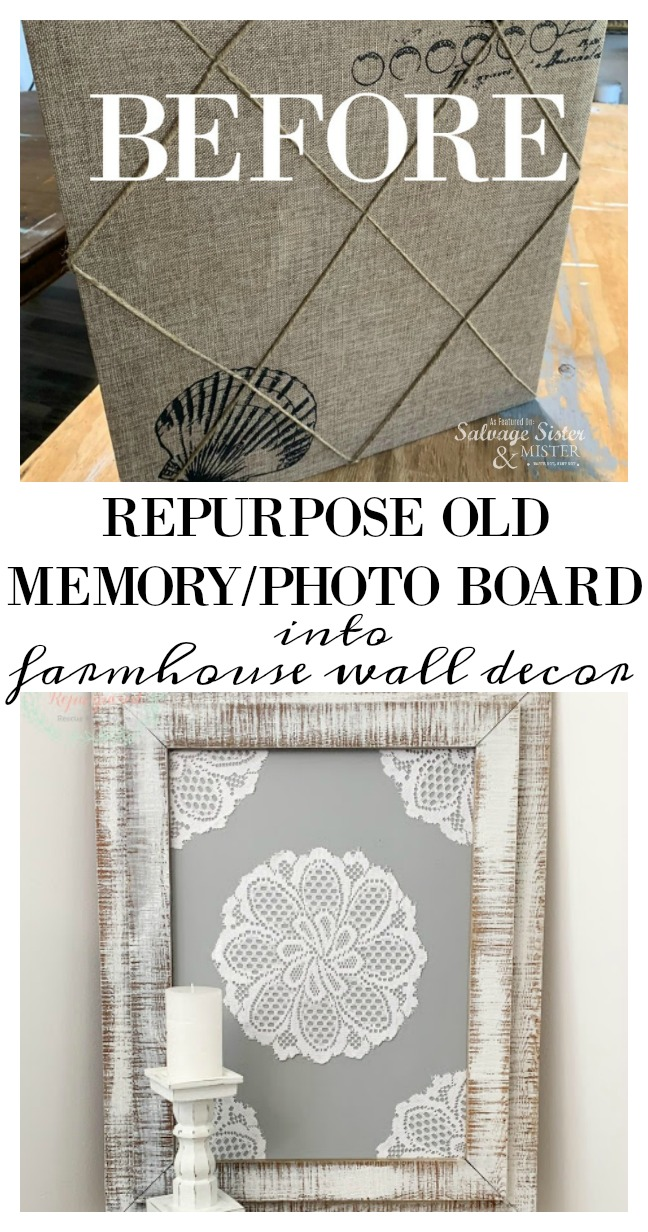 Thrift store transformation - Turn an old memory board into farmhouse wall decor with this DIY tutorial.  Turn what you have into something new with this repurpose-reuse project.  Farmhouse inspired but you can make it into anything you like - fit your decor style.  Inspiration on salvagesisterandmister.com