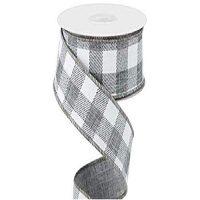 "Gray Plaid 2 .5"" in x 12' ~ Ribbon ~ Wire Edge Buffalo Plaid Design"