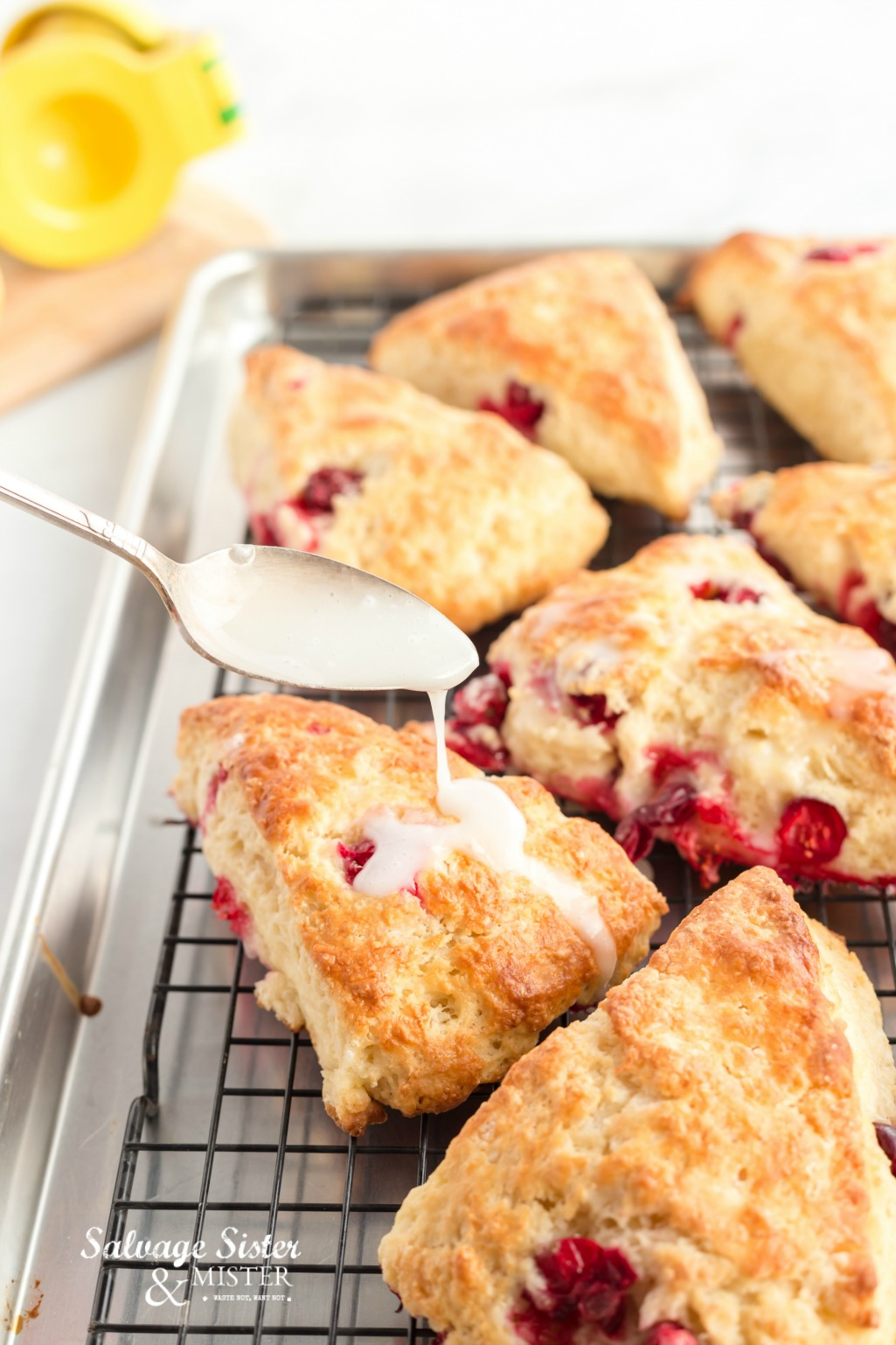 recipe forcranberry lemon scones on salvagesisterandmister.com