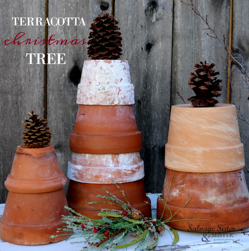 Using old pots to create inexpensive holiday decor - diy terracotta Christmas trees are fun for porch, outdoor, patio, greehouse, sunroom decor. Perfect for winter and a great reuse project. on salvagesisterandmister.com