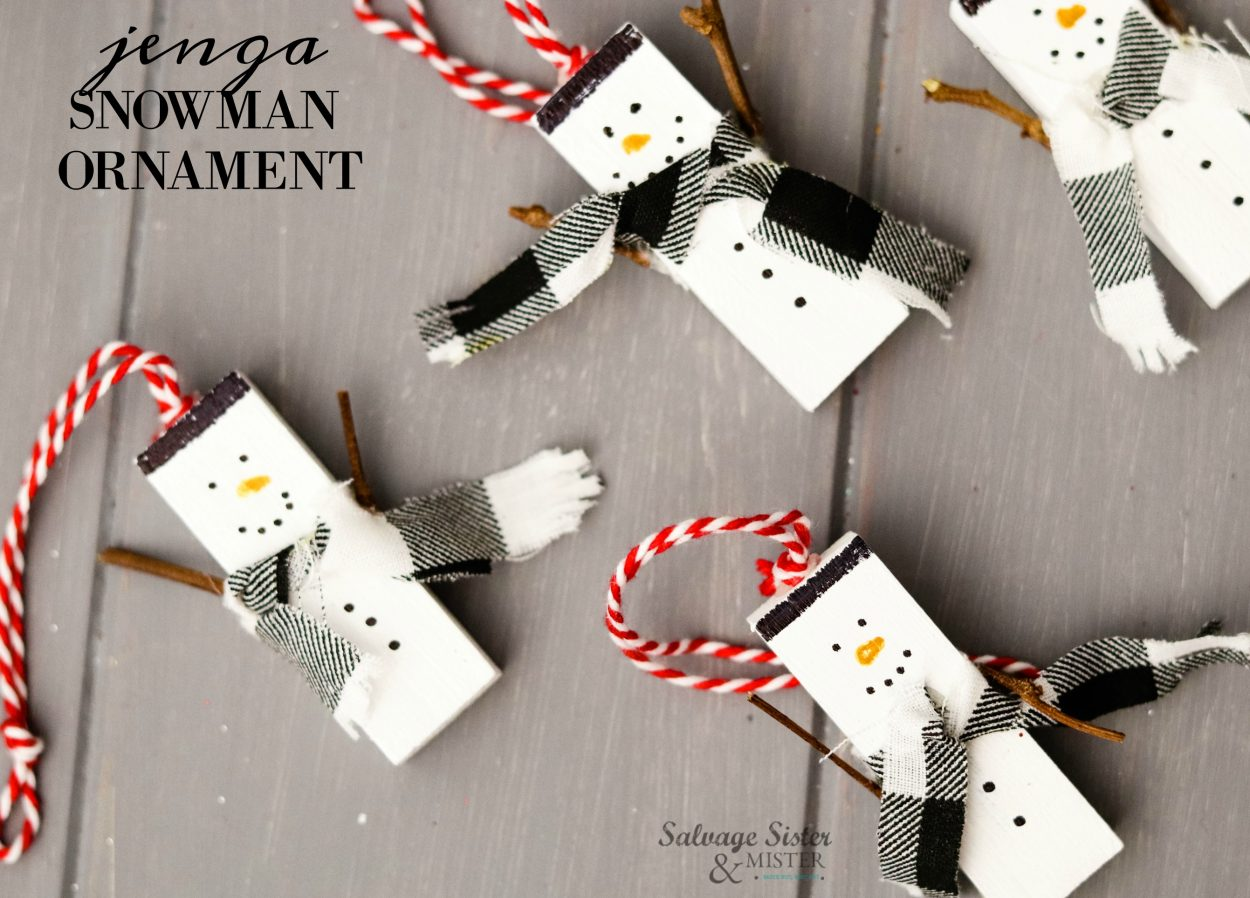Homemade repurposed Jenga snowman ornaments. This craft is great for all ages and makes use of missing pieces or an incomplete game. Find tutorial on salvagesisterandmister.com