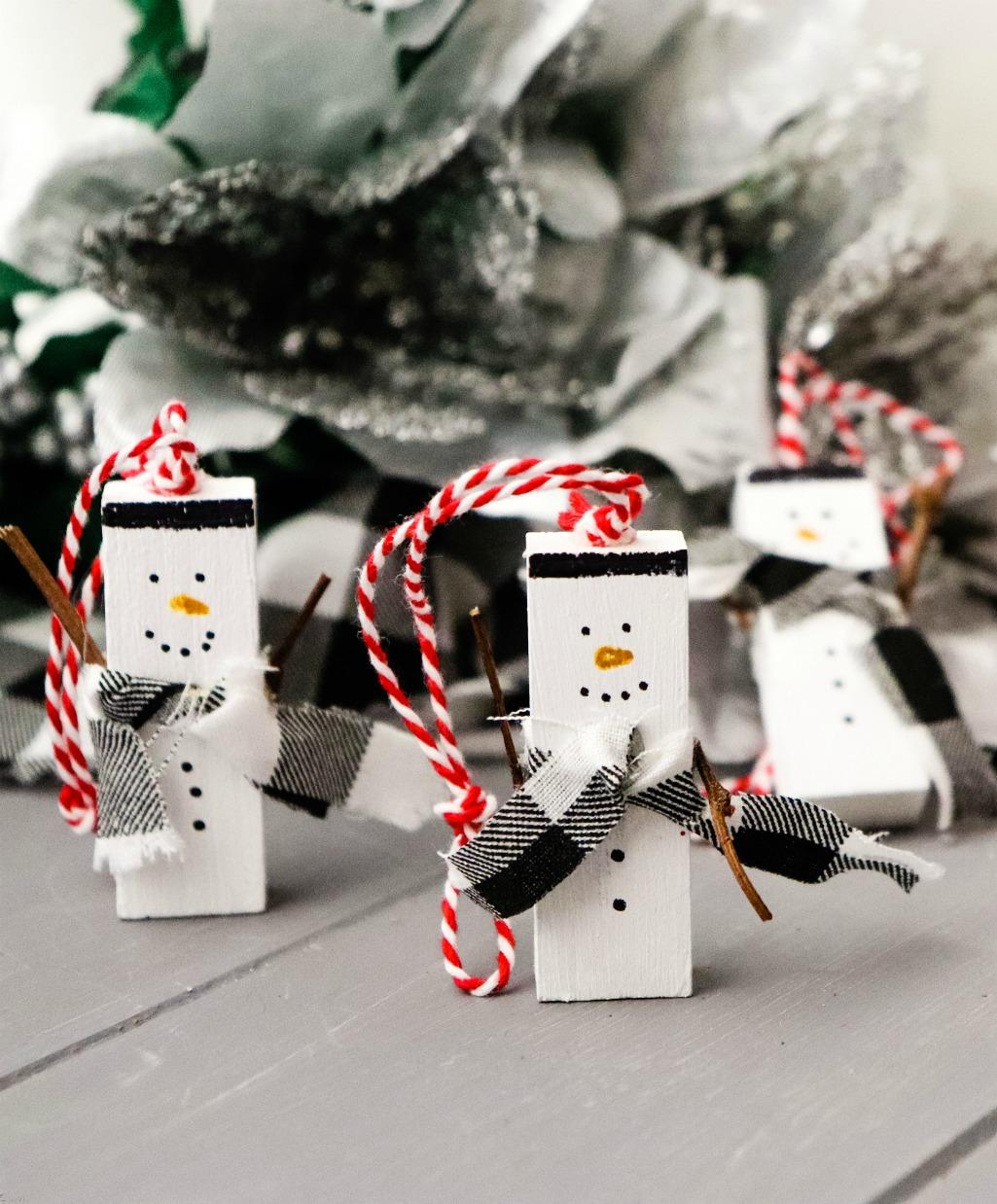Jenga Snowman Ornament Salvage Sister And Mister