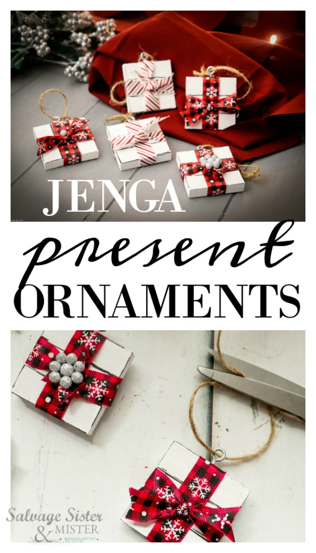 Holiday craft - Jenga present ornaments are a fun way to reuse a game with missing pieces, a yard sale find, or a dollar store bargain.  Inexpensive to make and easy for all ages.  Would be fun for a family ornament making tradition or a classroom craft.  These can be made in no time.  Grab some friends for this DIY project or make some for those on your gift list this season. Details on salvagesisterandmister.com