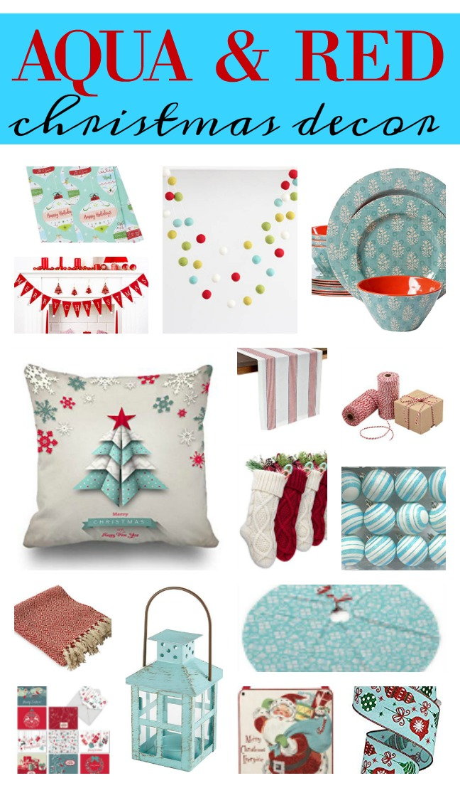 Aqua and red Christmas decorations can be used in a colorful farmhouse theme or vintage - retro theme or even a bakery theme. Here are some budget-friendly decor items for your holiday decorating plus some tips on how to change themes without buying all new items each year. Retro Christmas is at hand with these decorations. Find more info at salvagesisterandmister.com