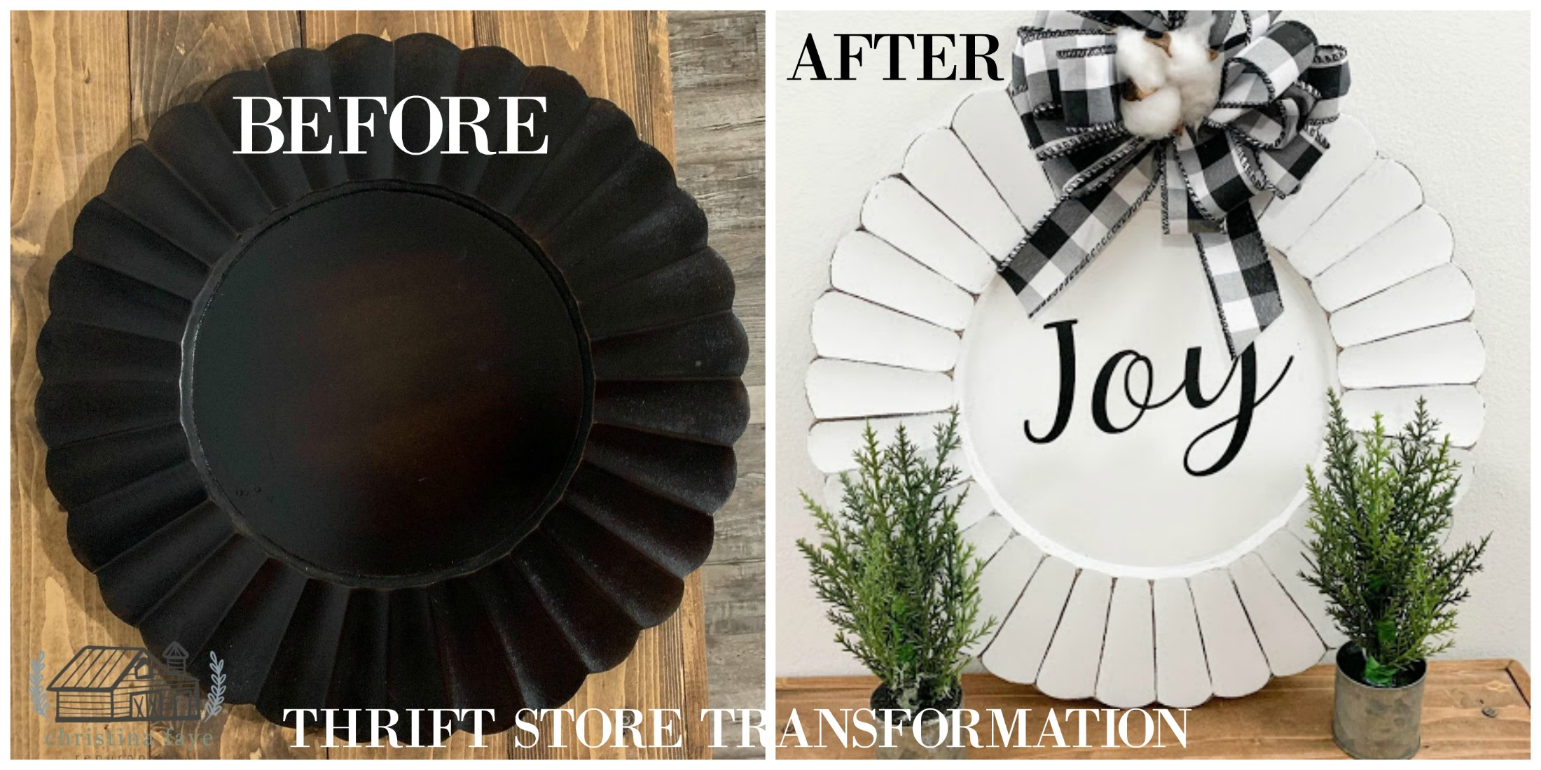 Thrift store transformation before and after of this charger plate christmas craft on salvagesisterandmister.com