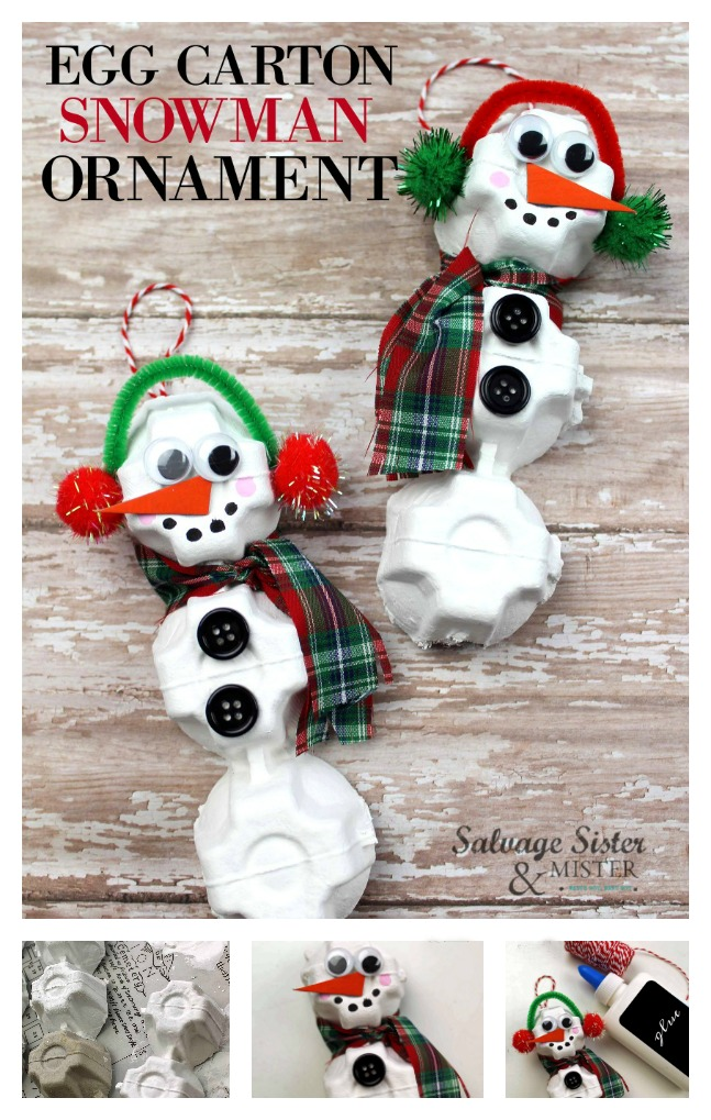 reuse holiday craft - egg carton snowman ornament. Fun for kids of all ages and adults as well. Upcycle or repurpose from your recycling bin to make this fun craft project. full tutorial on salvagesisterandmister.com
