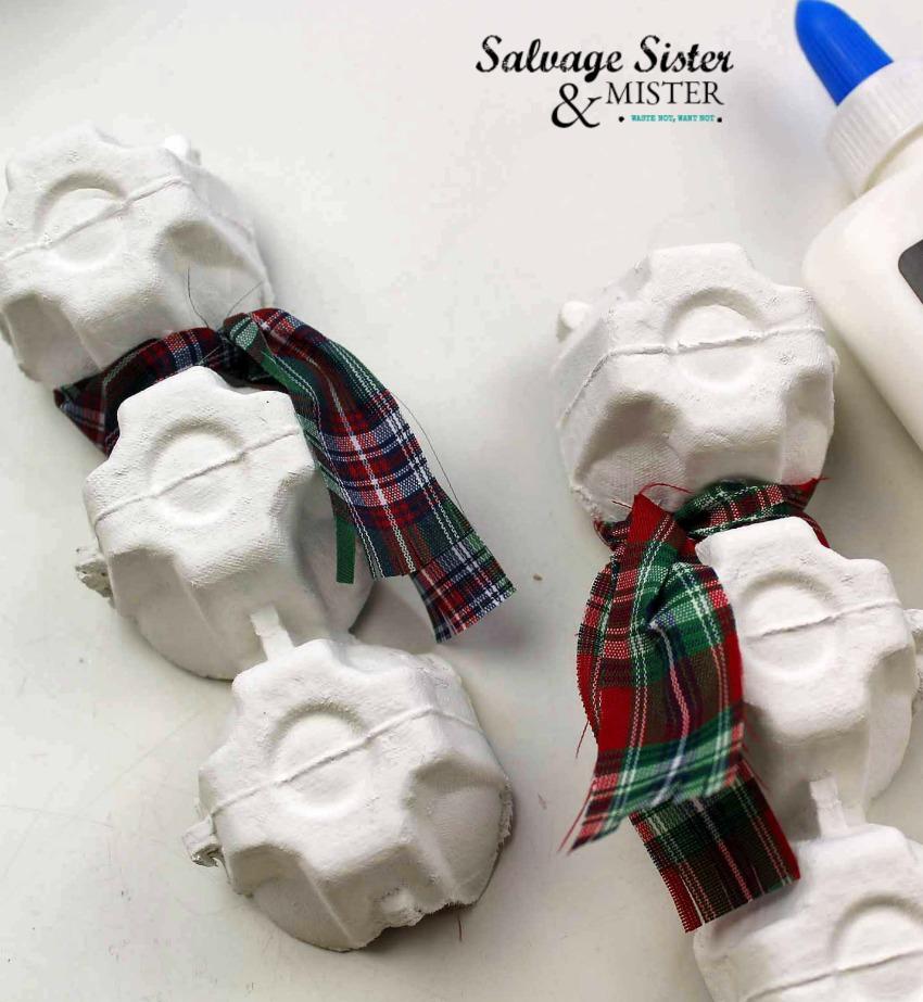diy craft - egg carton snowman ornament on salvagesisterandmister.com
