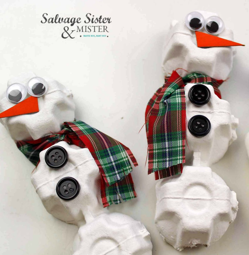 recycle craft - egg carton snowman ornaments on salvagesisterandmister.com