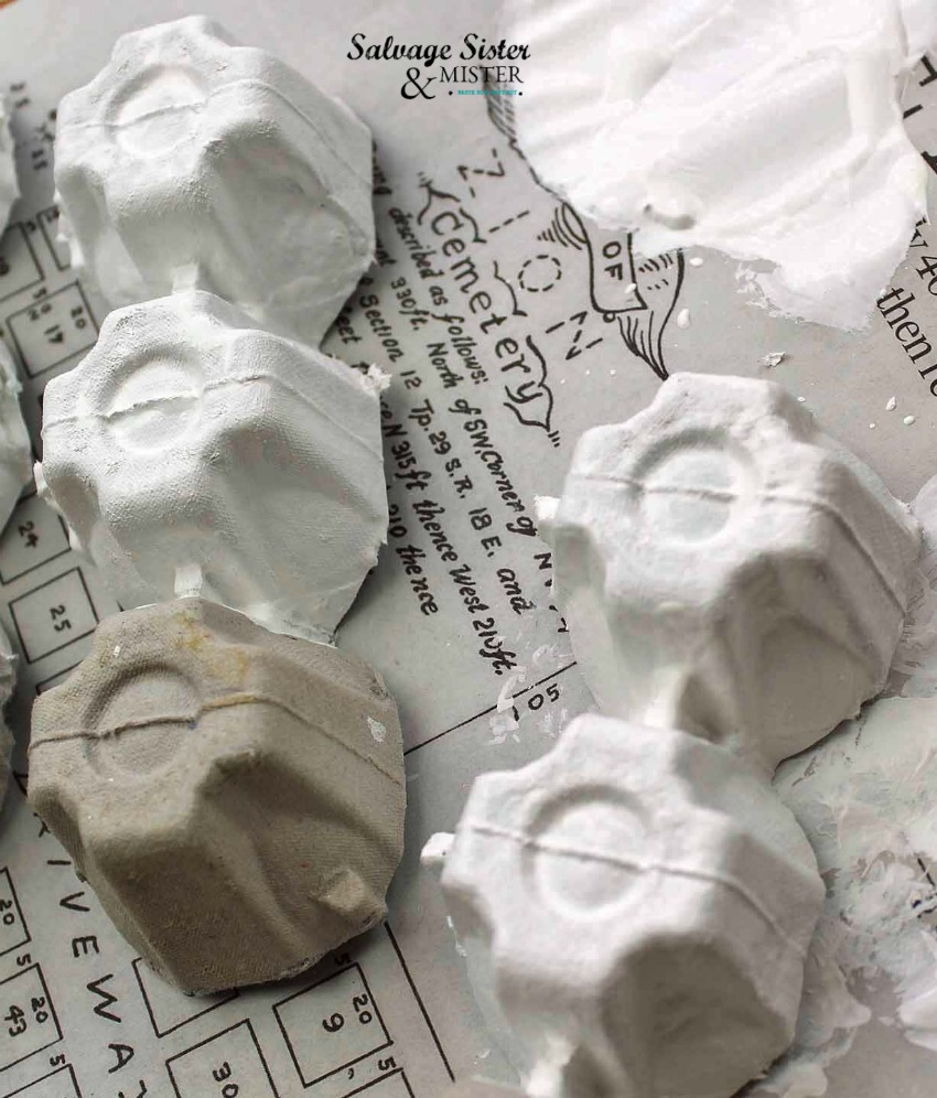 painting egg cartons to make ornaments on salvagesisterandmister.com