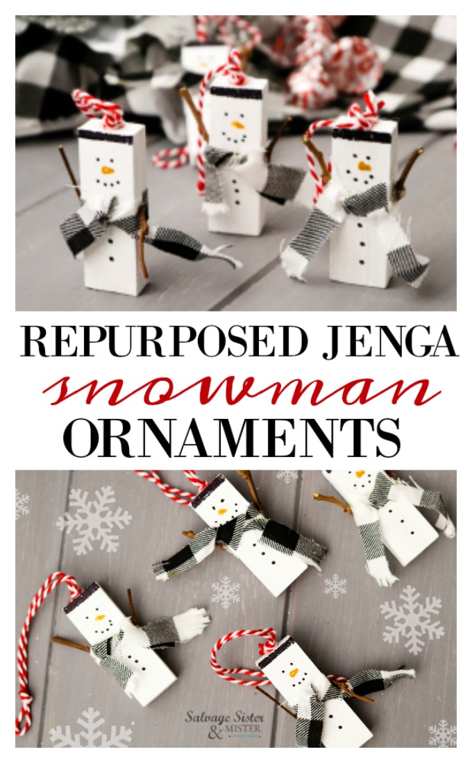 Repurposed Jenga Snowman Ornament craft is a great way to use up missing game pieces. Reuse the pieces (or little blocks of wood) to make these snowmen. Fun, easy, and inexpensive craft. Make for a teachers gift, ornament exchange, kids craft, or just for the snowman lover in your life. Get this full diy tutorial on salvagesisterandmister.com