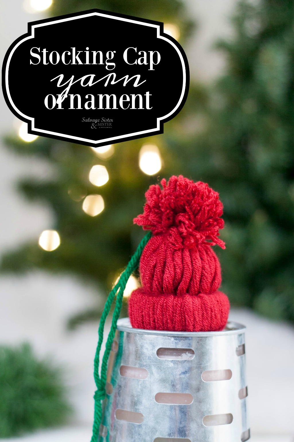 Craft project - DIY stocking cap yarn ornament is a great way to use up extra yarn and a toilet paper roll. This is a great gift to give, a fun craft activity for families or schools, or to give at an ornament exchange. Fun farmhouse feel or maybe use on a kids tree in their rooms. Get the full instructions on salvagesisterandmister.com