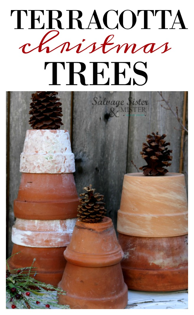 The plants might be gone, but the posts can still be used in these terracotta Christmas trees. A fun reuse (repurpose) project for your holiday decor. Use on your porch, outdoor decor, garden bench, sunroom, or even your greenhouse. An inexpensive way to decorate for the holidays. Upcycled Christmas tree ideas. See more at salvagesisterandmister.com