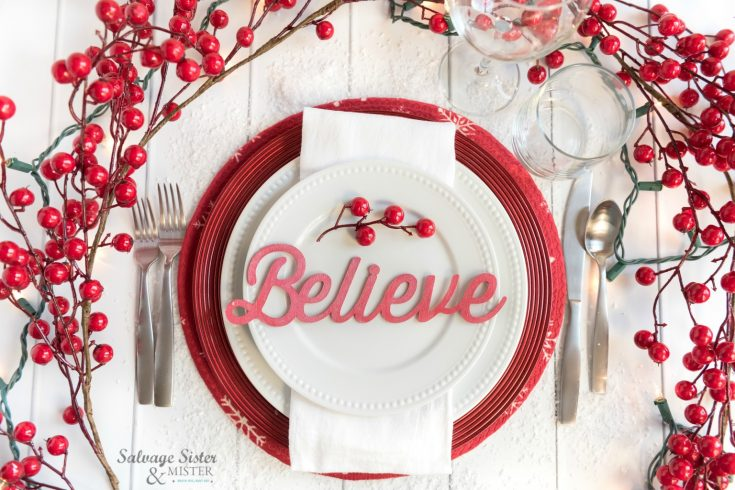 Create a beautiful cricut Christmas place card setting for your tablescape and for guest to take with them as a holiday gift. Find the tutorial on salvagesisterandmister.com