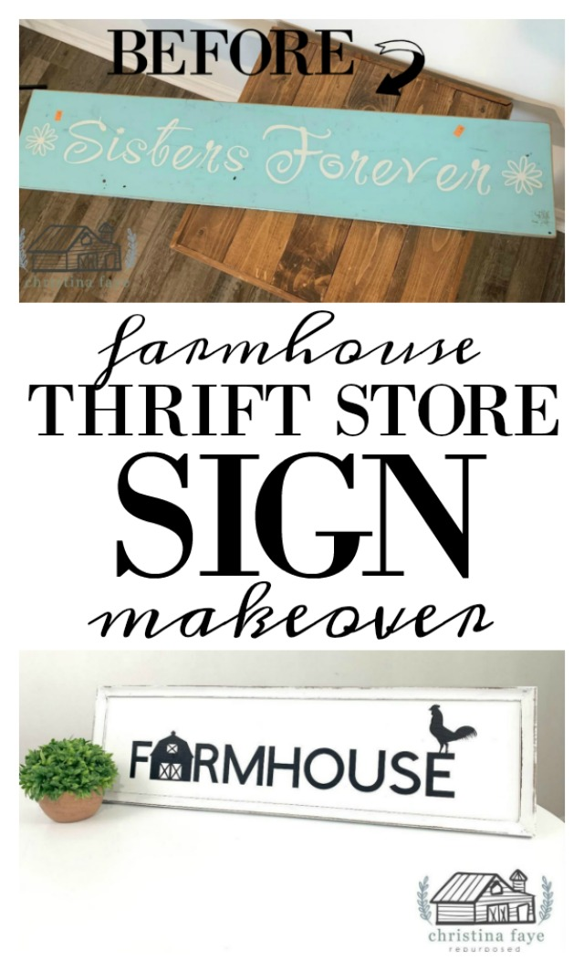 Using an old sign and a discarded frame to create this diy thrift store sign makeover using a stencil or a cricut, paint, and a little sandpaper.  This farmhouse sign tutorial is easy and can be make to fit your decor.  A fabulous thrift store transformation.  Budget-friendly too.  Featured on salvagesisterandmister.com