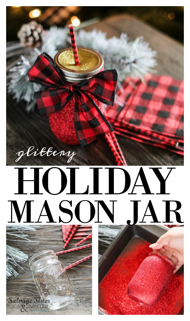 DIY holiday mason jar drinking cups is an inexpensive and quick craft to make for your family or to give as a gift.  These glitter jars are a great item to give as a teacher gift, or your friends.  Lasies craft night or fun to do with the family.  Mason jar craft is a great reuse idea.  Get the full craft tutorial on salvagesisterandmister.com