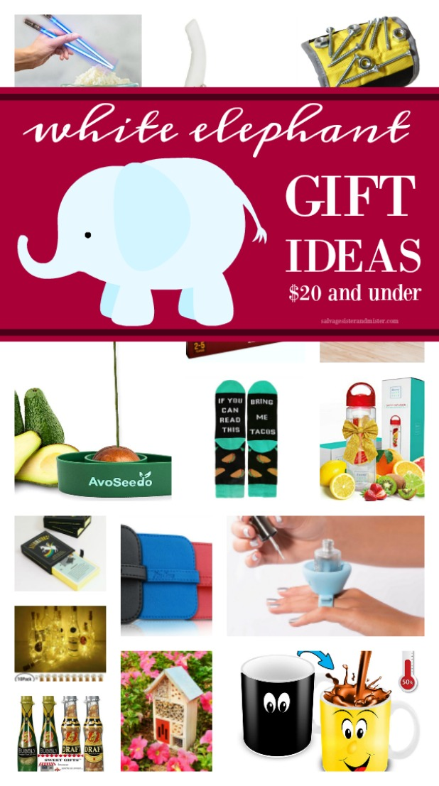 25 White elephant gift ideas for your holiday party (office parties). Some practical, some funny and some for fun. These gifts are sure to be used by the receiver. Plus, games for you holiday gift exchanges. Get these ideas on salvagesisterandmister.com (budget-freindly gifts) also could be great stocking stuffers as well.