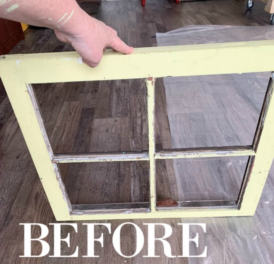 an old window makeover - farmhouse style on salvagesisterandmister.com