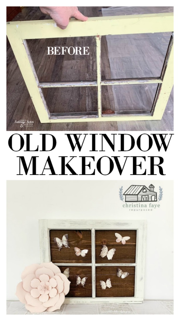 Old windows can be easy to come by as they are often just thrown out on the side of the road.  (vintage pieces too) Turning an old window without glass into a farmhouse decor piece.  Find out what was done with this old window makeover to create the beautiful newish statement piece for a living room, bedroom, or accent wall.  Customize it to your desired look.  Find the DIY tutorial as featured on salvagesisterandmister.com