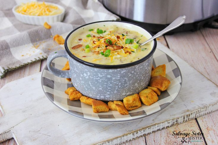 recipe for Easy Instant Pot Cheeseburger Soup on salvagesisterandmister.com