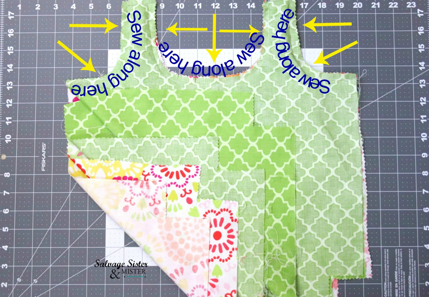sewing reversible shopping bags on salvagesisterandmister.com