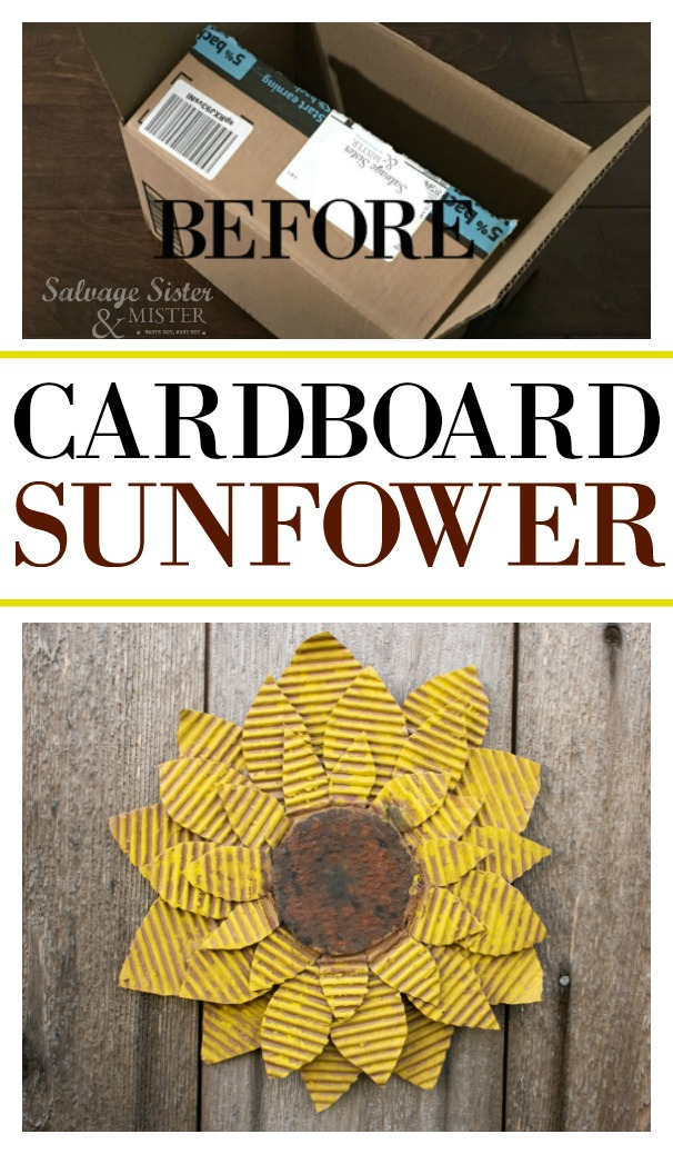 Creativity is making something from nothing. Here is an old amazon box that was reused into a flower - DIY cardboard sunflower. This is a great craft to reuse-upcycle-repurpose and it's inexpensive to boot. Try this for nursery or home decor, party decorations, garland, a place setting and more. This full tutorial is found on salvagesisterandmister.com where we share ideas to make the most with what you have.