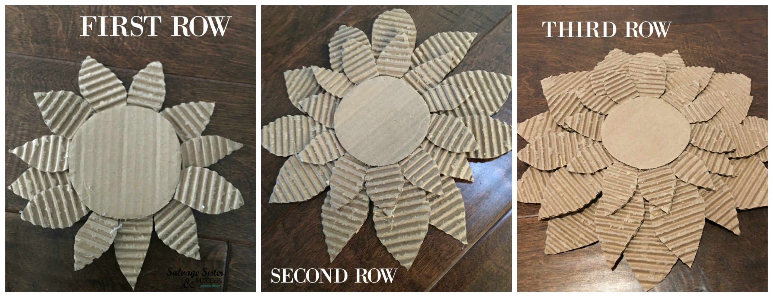 Reuse craft - diy cardboard sunflower on salvagesisterandmister.com