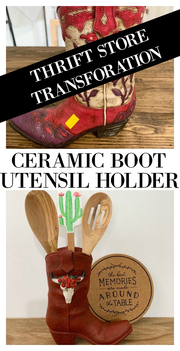 Thrift Store Transformation - Ceramic items are easy to find at a thrift store.  This cowboy boot was a bargain but not necessarily current.  With a little paint and a skull decoration this item can be used in a western or rustic kitchen to hold utencils in now.  Get the full details of this diy project on salvagesisterandmister.com