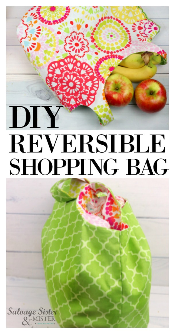 DIY sewing tutorial with a PDF template - reversible shopping bag is a great way to stop the use of plastic bags and create something pretty.  This craft is easy if you hae some basic sewing skills.  Make these for yourself or give them away.  Get this full diy project on salvagesisterandmister.com